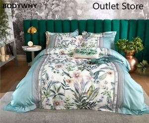 Botanical Duvet Cover Set  Egyptian Cotton Luxury Soft Bedding Set  Sheet Cover