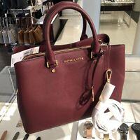 Michael Kors Large Leather Satchel Crossbody Handbag Purse Bag Merlot