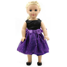 Hot~ Fits 18 inch Girl Doll Handmade Purple Clothes Dress Fashion Gown