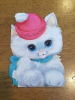 Adorable Vintage Velvet Kitty Cat Happy Birthday Greeting Card Purr-fect Niece