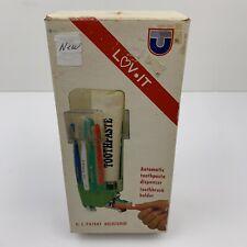 Vintage Toothpaste Dispenser Toothbrush Holder Wall Mount Open Box
