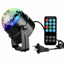 LED RGB Crystal Magic Disco Ball Light - Sound Activated With Remote Party DJ