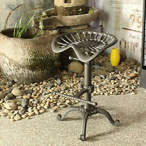 Tractor Seat Bar Stool-Rustic Industrial Bar Swivel Chair Adjustable Height
