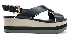 Fendi Black Grey Crisscross Flatform Sandal Size 38 Womens Made In Italy