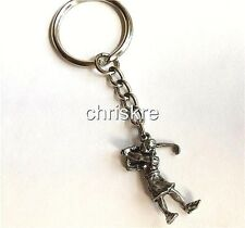 Silver Pewter Golf Player Keychain Key Ring Purse Zipper Pull Tag Golfers Gift