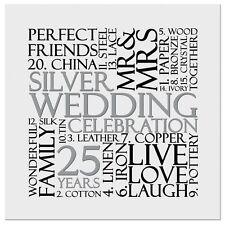 Silver 25th Wedding Anniversary Invite Invitation 10 pack UK FREE POST