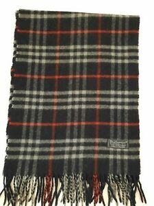 Genuine Burberry Vintage 100% Lambswool Nova check Navy Blue Scarves Scarf