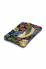 William Morris Quilted Bag Purse Cosmetic Pouch Strawberry Thief Fabric Indigo