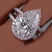 18k Solid White Gold GIA Certified 5.00 Carat Pear Shape Diamond Engagement Ring