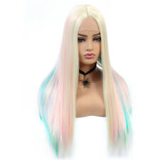 Long Straight Synthetic Colorful Lace Front Wig Hand Tied Hair Wigs for Women