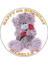 "TATTY TEDDY BEAR - DESIGN 1 PERSONALIZED 7.5"" CIRCLE ICING CAKE TOPPER"