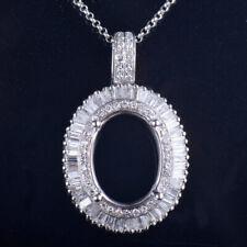 Oval Cut 10×13mm Natural Diamond Semi Mount Pendant Setting Solid 14K White Gold