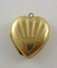 LOVELY VINTAGE ART DECO 9ct GOLD BACK AND FRONT HEART SHAPED LOCKET PENDANT 3.3g