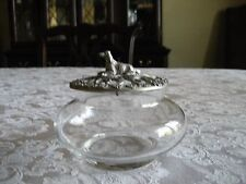 1989 PEWTER & GLASS POTPOURRI CONTAINER WITH SETTER DOG ON LID
