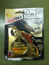 "EVANS RULE TAPE-SQUARE 16' x 3/4"" MEASURING TAPE MEASURE 12600 USA VINTAGE 4IN1"