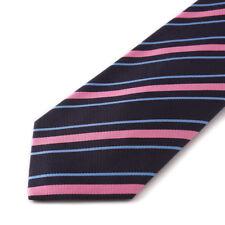 New E.MARINELLA NAPOLI Navy-Pink-Sky Blue Ribbon Stripe Twill Silk Tie