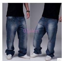 2016 Mens Hip Hop Jeans Casual Pants Baggy Jeans Cargo Pants Loose Trouser 30-46