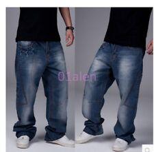 Mens Hip Hop Jeans Leisure Pants Baggy Jeans Cargo Loose Trousers Blue 30-46 hot