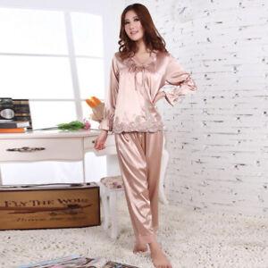 NEW Womens Silk Satin Pajamas Set Sleepwear&Robes Nightdress Nightgown P151 L,XL