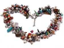 Multi-color Round Baroque Freshwater Pearl Crystal Chips Coral Beads Necklace