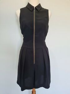 Cue in the City Black Tailored Playsuit Collar Half Zip Wide Leg Size 8