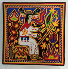 Huichol Yarn Painting Original Mexican Folk Art Signed Gonzalo Flores Canare 8x8