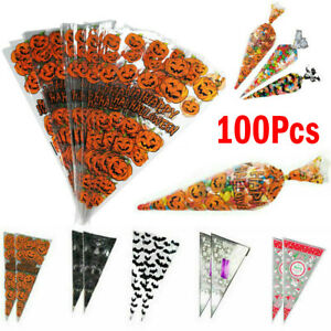 100X Halloween Christmas Clear Cellophane Cone Bags Food Favour Sweet Candy Kids