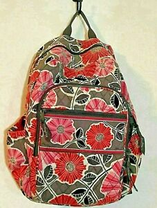 Vera Bradley Cherry Blossom Pink Black Floral Quilted Back Pack School Gym