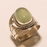 AAA 6 GM 925 SOLID STERLING SILVER RING US 8.3  PREHNITE CAB GEMSTONE S270