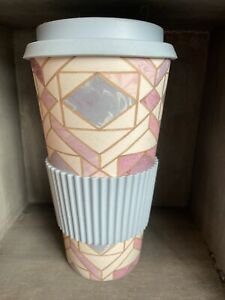 Tall Eco Friendly Bamboo Travel Coffee Tea Mug Cup Silicone Lid Pink & Blue