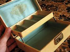 "True Vintage 60s Mini CREME BLUE Liner Hippie Jewelry Box Case NO Key 7x5x3"""