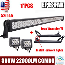 """52inch 300W+2X4"""" 18W LED Light Bar+Mount Bracket For Jeep Wrangler YJ 1987~95 NE"""