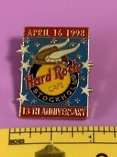 Hard Rock Cafe STOCKHOLM 1998 13th Anniversary PIN Blue Rectangle w/ Viking Hat