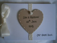 A4 Vintage Style Personalised Wedding Guest Book/Photo Album Any Colour
