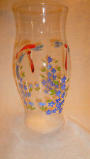 HURRICANE BLOWN GLASS SHADE TABLE CANDLE HOLDER FLORAL ARANGEMENT PAINTED FLOWER