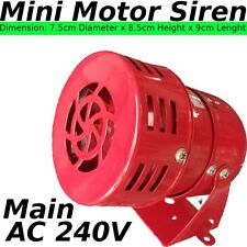 240V ac mini Motor SIREN alarm LOUD horn Security SYSTEM DIY Device Metal Red