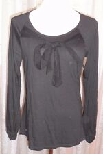 ARMANI JEANS ELEGANT BLACK TOP WITH LACEY BOW , PERFECT FOR ALL OCCASIONS ,M