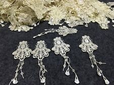 10pcs Creamy Venise Lace Embroidery Applique Motif With Tassel Costume 3.5*10cm