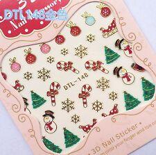 Christmas GOLD Snowflake Snowman Cane Bauble Xmas Tree 3D Nail Art Sticker Decal