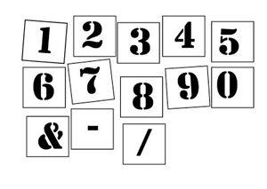 Number Stencil individual pcs 0-9 plus symbols 30mm-200mm - FREE POST AUST