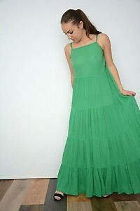 NEW WOMENS EX WAREHOUSE GREEN TIERED ADJUSTABLE STRAPS LONG MAXI DRES SIZE 6-10