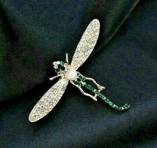 Dragonfly brooch green clear crystal rhinestone pearl vintage style in gift box