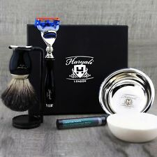 Complete Men's Shaving Set Black Safety Razor Badger Hair Brush Bowl Stand Soap