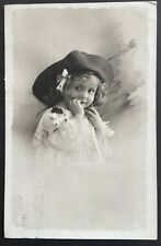 Vintage postcard 1911? Girl with Hat black and white photograph