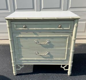 Fretwork Faux Bamboo Bachelor Chest of 3 drawers Thomasville Allegro Chippendale