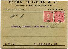 CAPE VERDE ISLANDS PORTUGAL 1898 SERRA OLIVEIRA + CO PRINTED ENV to ST LOUIS USA