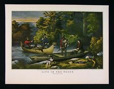 Currier & Ives Print - Life in the Woods - Hunters Returning to Camp - Canoe
