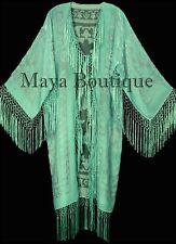 Mint Silk Burnout Velvet Fringes Jacket Kimono Long Coat Maya Matazaro
