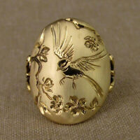 Einfache 18 Karat Gold Elster Pfingstrose Blume Frauen Ring Ehering Ring FrauXUI