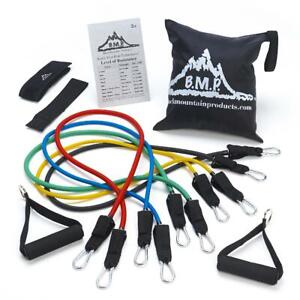 Black Mountain Products Rubber Resistance Band Set with Door Anchor, Ankle Strap